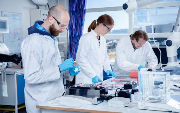 Ingeniør Marius Uv Nagell, forsker Marte O. Skare og forsker Asbjørn Ulvestad i IFEs batterilab.