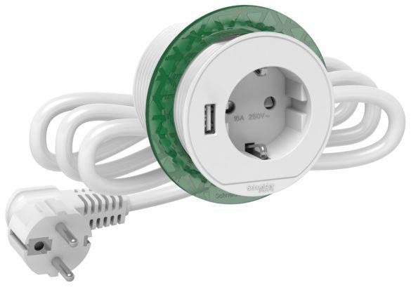 Bordenhet XS-Schuko+USB-A hvit Nedfellbar bordenhet XS- 250V