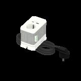 Bordenhet S, strømuttak med 2 USB, hvit